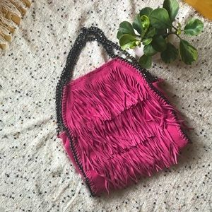 ✨Host Pick✨Pink Italian Leather Fringed Purse